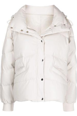 JONATHAN SIMKHAI Naiset Talvitakit - Faux-leather hooded puffer jacket