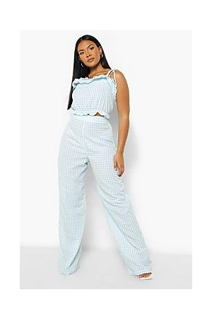 Boohoo Plus Gingham Ruffle Top And Trouser Co-ord