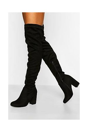 Boohoo Naiset Ylipolvensaappaat - Wide Fit Stretch Block Heel Over The Knee Boot