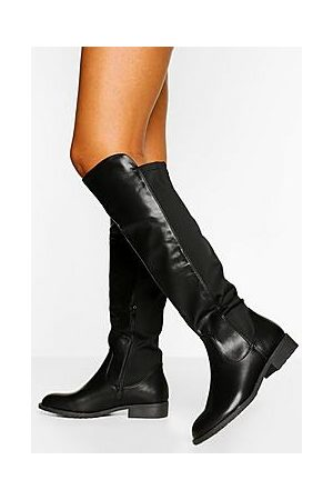 Boohoo Wider Calf Knee High Riding Boots