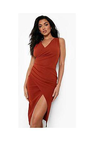 Boohoo Naiset Myötäilevät Mekot - Wrap Ruched Front Midi Dress