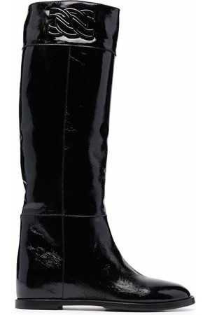 Casadei Naiset Saappaat - C-Chain patent leather boots