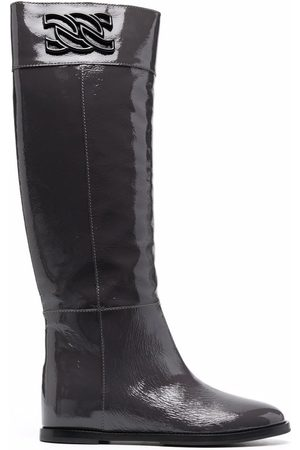 Casadei C-Chain patent leather boots
